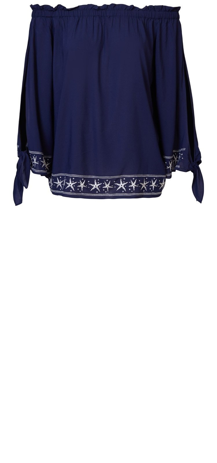 7e8c4a2f815878 Off Shoulder Blouse in donkerblauw